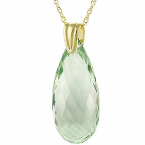 14k Solid Yellow Gold Natural AAA Briolette Green Amethyst Pendant Necklace