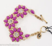 NWT Juicy Couture Gold Cabochon Flower Cluster Crystal Chain Bracelet YJRU6611