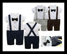 Baby Boy Wedding Christening Formal Party Bow Tie Smart Suit Outfit Tuxedo 3-24m