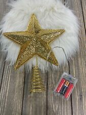 Christmas Gold Star Tree Topper Lights