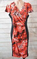 Liz Jordan Dress Sz Medium 10 12 Black Pink Red Pencil Stretch Shift Dress