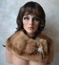 Genuine MINK FUR COLLAR Wrap Scarf for Coat or Jacket, Honey Blonde, lined