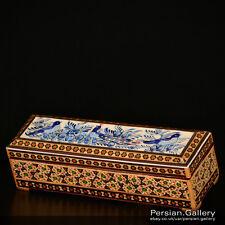 Esfahan Manualidades-Khatam de madera Caja de Lápiz (جاقلمی خاتم کاری) - tamaño 20cm