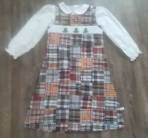 Lolly Wolly Doodle girls plaid Christmas Tree smocked dress and white blouse 10