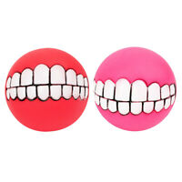 2 Pcs Dog Squeaker Chewing Chew Ball Toy for Large Medium Dogs Red&Rose Red