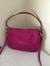 MICHAEL KORS BEDFORD HOT PINK NYLON FLAP CROSSBODY HOBO SHOULDER HANDBAG