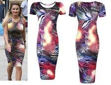 Womens Ladies Tie Dye Celebrity Snake Animal Print Cap Sleeve Bodycon Midi Dress