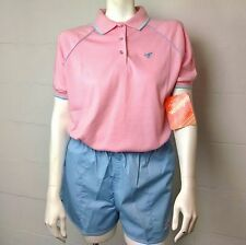 Vintage Ladies Pink Blue Wrangler Polo Shirt & Shorts Set Size L/ XL