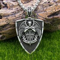 "Archangel Saint St Michael Medal Shield and Sword Pendant Necklace w 24"" Chain"