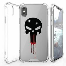 For iPhone X Transparent Clear Bumper Protector Cover Case PUNISHER Skull Head
