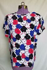 IMPRESSIONS OF CALIFORNIA MULTI-COLOR FLORAL CAP SLEEVE SHELL BLOUSE SZ M #Y640