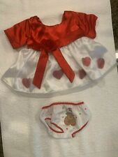 Build a Bear Red & White Dress w/Red Hearts & White w/Red Trim Panties w/Kitty