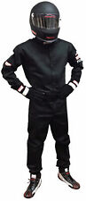AUTO RACING SUIT FIRE SUIT SFI 3-2A/5 ONE PIECE 2 LAYER BLACK SIZE ADULT 4X