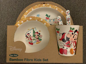 """Disney Bamboo Fibre Kids 5 PC Dinner Set Christmas """"Mickey And Minnie Mouse"""""""