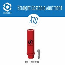 10 x Castable Plastic Abutment Anti Roatational Internal Hex RP, Dental Implants