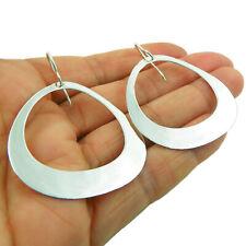 Large Flat Hoops 925 Sterling Silver Earrings in a Gift Box