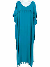 New Solid Teal Blue Heavy Rayon Caftan Long Dress With Slits PLUS SIZE 3X 4X 5X