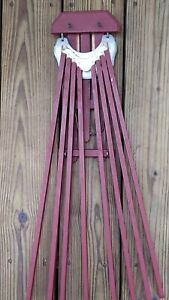 Antique Wooden FAVORITE CLOTHES DRYER 8 Arm Wall Mount RUSTIC RED