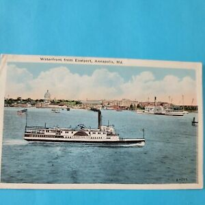 Vintage Postcard WATERFRONT FROM EASTPORT ANNAPOLIS