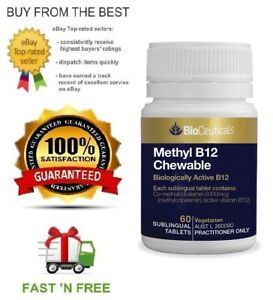 BIOCEUTICALS METHYL B12 CHEWABLE 60 TABLETS + FREE SAME DAY SHIPPING