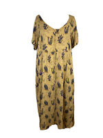 Tree Of Life Womens Size L Rayon Maxi Cactus Print Button Down Dress