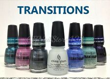 China Glaze- TRANZITIONS Collection 6 colors 1175-1180 &1 Fast Forward Top x.5oz
