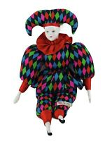 Sugar Loaf Mardi Gras Jester Doll Classic Harlequin Multicolor Toy Clown 17""