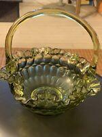 Vintage Fenton Green Glass Thumbprint Ruffled Basket
