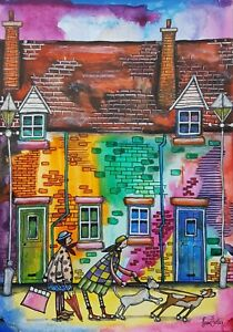 Original Contemporary Naive Street Scene Painting By Claire Shotter. Houses