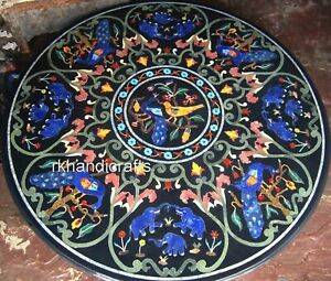 48 Inches Marble Inlay Table Top Handmade Dining Table Ancient Art from India