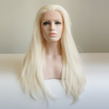 """24"""" Light Blonde Lace Front Wig Straight Synthetic Fiber Hair Women"""