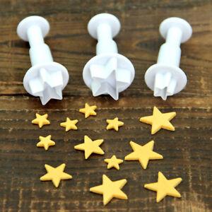 3Pcs Mini Star Fondant Decorating Biscuit Cutter Mold Cake Tools DIY Mould