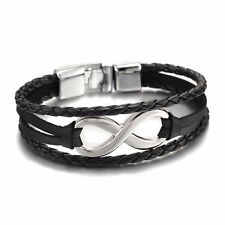 Infinity Bracelets Hand Braided Charms Leather Rope Bangles Bracelet Women 0v Brown