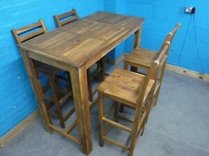 SOLID WOOD HIGH / BREAKFAST DINING TABLE+ 4 BAR STOOL / CHAIR -SEE OUR EBAY SHOP