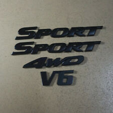 2PCS SPORT + 1PC V6 + 1PC 4WD Black Metal Matte Emblem Sticker Badge 3D suv High