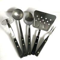 Ekco Household Black Handle Spatula Ladle Masher Fork Spoon  5 Utensils Vtg USA