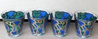 4 Georges Briard Glass Glasses Tumbler Low Ball Royal Blue Gold Art Nouveau