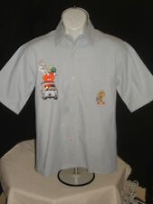 WARNER BROS BUGS TWEETY TAZ EMBROIDERED 100% COTTON S/S BUTTON FT SHIRT SZ S