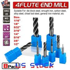 New listing Us 8Pc Solid Carbide End Mill 4 Flute TiAlN Coated Micrograin Carbide Slot Drill