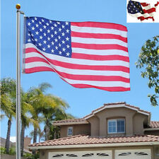 25 ft Aluminum Sectional Flagpole Kit w/ Halyard Pole and American Flag Outdoor