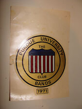 """Vintage 1971 Decal Purdue University Bands The All-American Club  3"""" diameter"""