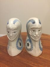 Vintage Stoneware Art Pottery BOOKENDS King Queen UCTCI Japan EUC with labels