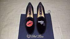 "NEW! $325 Del Toro Black Velvet ""KISS OF DEATH"" Slippers Loafers Shoes Stubbs"