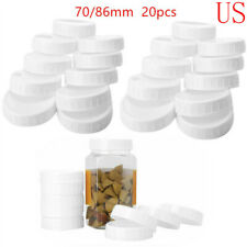 20 Plastic Unlined Ribbed Lids Storage Caps for Regular/Wide Mouth Mason Jars