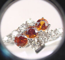 FINE COLOR BURNT ORANGE NATURAL SAPPHIRES .63 TCW w/ DIA's 14K WHITE GOLD RING