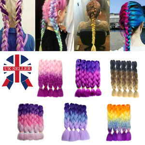 """24"""" Braiding Ombre Rainbow Jumbo Braids Hair Extensions Synthetic Any Color W"""