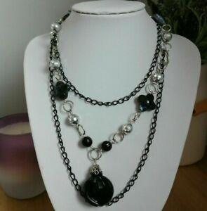 Retro Steampunk Black Silver Tone Multi Strand Plastic Beaded Goth Mod Necklace