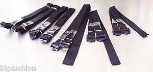 10-pack of TOUGH Ladderloc Buckle Straps Black - VARIOUS SIZES - Ladderlock Belt