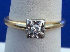 Signed H & R 1950's 14 k Yellow Gold Diamond Solitaire Engagement Ring Size 6.75