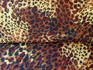 "PREMIUM ANIMAL PRINT DRESS FABRIC DARK LEOPARD  3 Mtr COTTON / POLY 60"" WIDE"